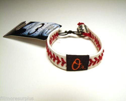 GameWear Baltimore Orioles Leather Bracelet with RED Seams