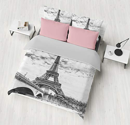 Jwellking 3D Romantic French Paris Eiffel Tower Twin Bedding Sets(1 Duvet Cover,2 Eiffel Tower Pollow Shams),Duvet Cover with Hide Zipper. Gifts to Boys,Girls,Teen,Child,Friends,Family,No Comforter (Paris Covers Duvet)
