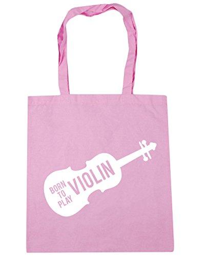 HippoWarehouse Born to Play Violin Tote Shopping Gym Beach Bag 42cm x38cm, 10 litres Classic Pink