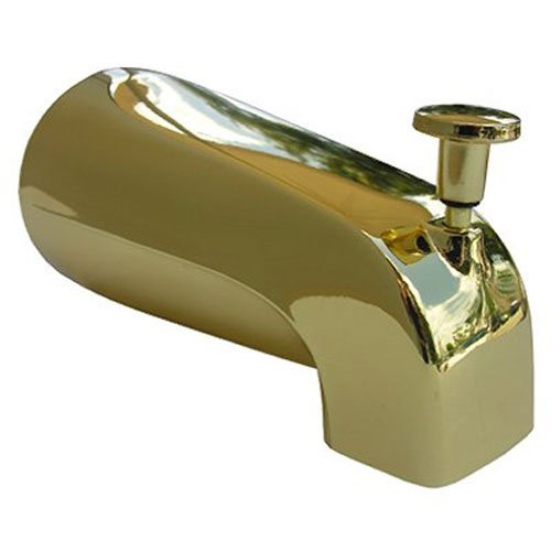 LASCO 08-1059 4 in 1 Fits Most Connection Bathtub Spout with Diverter Style, Polished Brass Finish (Bath Tub Spout Aerator)