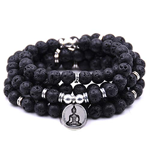 (Stylish Natural Stone charm women men OM Bracelet 108 Mala Yoga lotus Matte Jewelry necklace(Rhodium Plated))