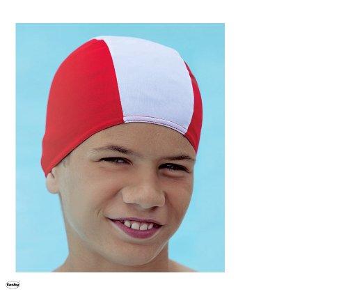 Fashy 3236 Stoffhaube (Badekappe für Kinder mit max. ca. 50/52 cm Kopfumpf.) - rot/weiß