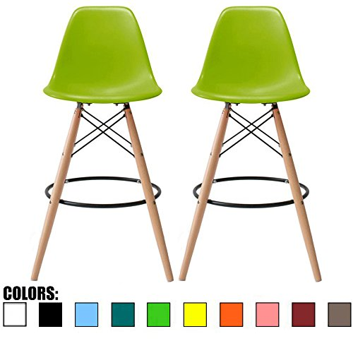 "2xhome Set of 2 Mid Century Modern Green 25"" Barstool Counter Stools Stool Designer Plastic Molded Shell with Back Armless No Arms Natural Wood Leg Eiffel Dowel Kitchen Dining Room Review"