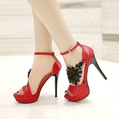 LvYuan Mujer-Tacón Stiletto-Otro Zapatos del club-Sandalias-Boda Vestido Fiesta y Noche-Semicuero-Negro Rojo Red