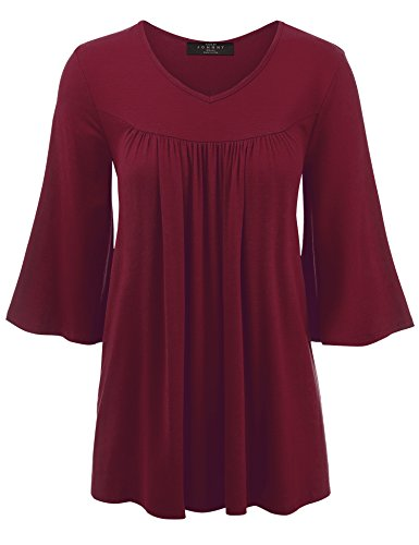 WT1538 Womens V-Neck 3/4 Bell Sleeves Shirring Top - Made in USA XL ()