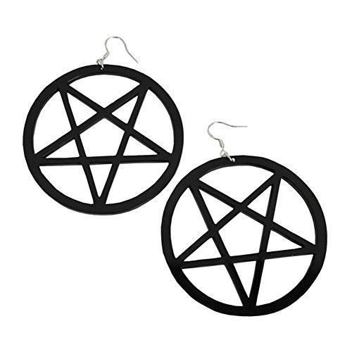 Punk Big Black Star Earrings Acrylic Circled Star of David Hanging Earrings for Christmas Gifts (Black)