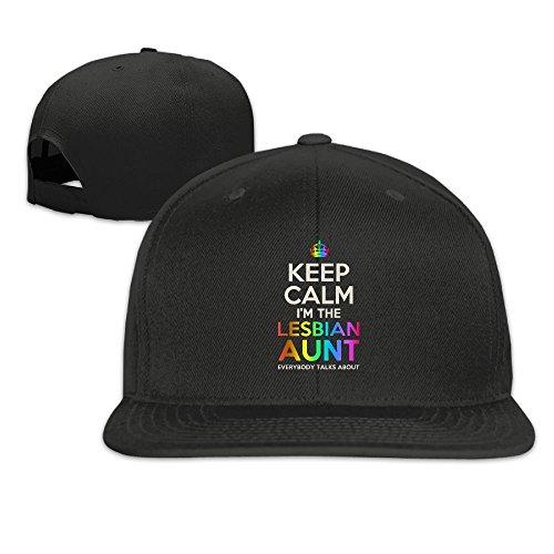 Nquqiyilu Mens KEEP CALM I'M THE LESBIAN AUNT Fashion Hip-Hop Black Caps Adjustable Snapback