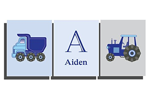 Navy Blue Truck (Boy's Navy Blue Wall Art Tractor Truck Construction Farm Vehicle Prints Boys Room Decor Customize Name Letter Transport Theme Bedroom Nursery Pictures (Set of 3 Unframed Prints))