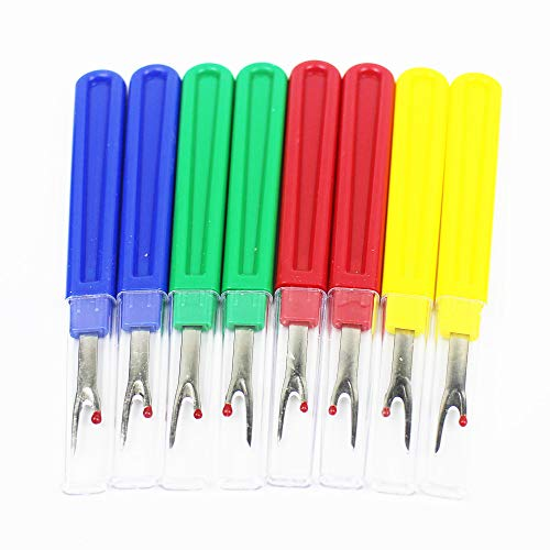 8 Pieces Seam Ripper Stitch Thread Unpicker with Plastic Handle and Cover for Sewing and Crafting, Assorted Colors (8)