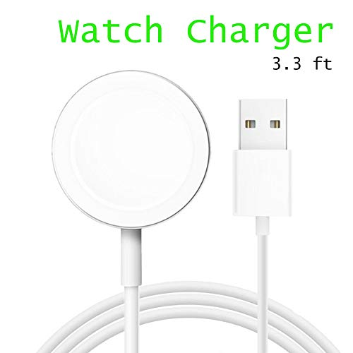 HAODU Watch Charger Wireless Portable Charging Cable Cord Pad Compatible with iWatch 38mm & 42mm Series 4/3/2/1/Nike+/Edition -3.3 ft -White