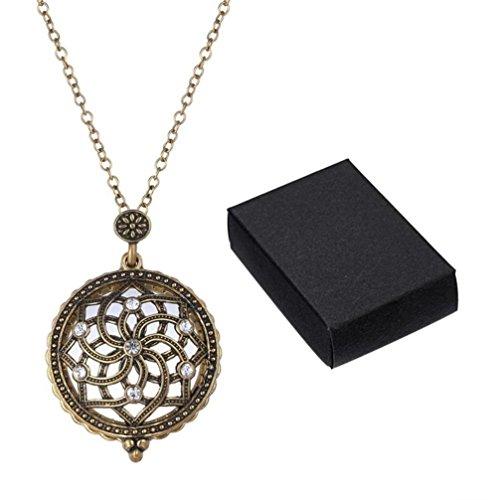 DondPO Fashion Magnifier Pendant Necklace Magnify Glass Reeding Decorativ Monocle Necklace (Bronze) - Plated Brass Magnifier