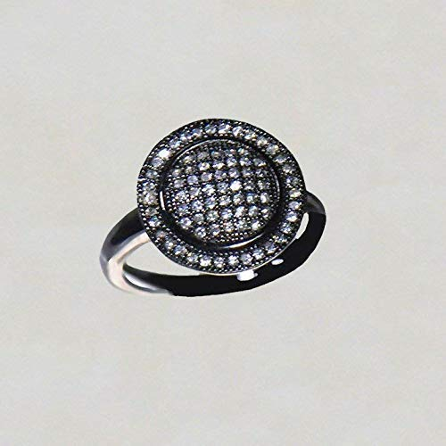 Brilliant Pave Set - SIVALYA Light Up the Sky Ring in Oxidized 925 Sterling Silver Ring with Pave set Brilliant White CZ - Size 8
