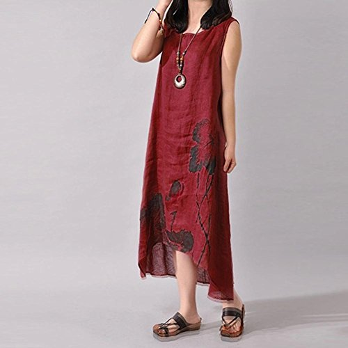Chinatera Women Dress Ink Linen Loose Casual Sleeveless Red Dark Summer Painting Dresses Outfits ppAqdrw
