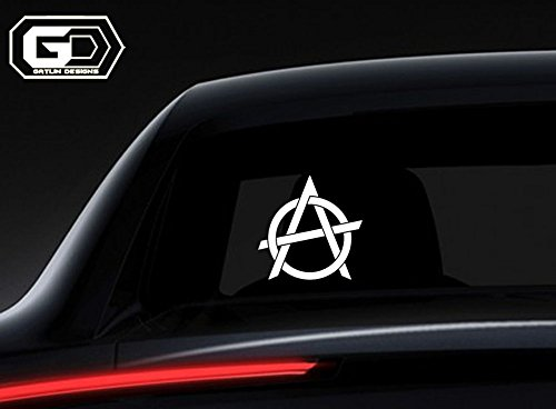 Anarchy Symbol  1 White 6  High Quality Vinyl Car Truck Suv Apple Mac Book Laptop Wall Electronics Surface