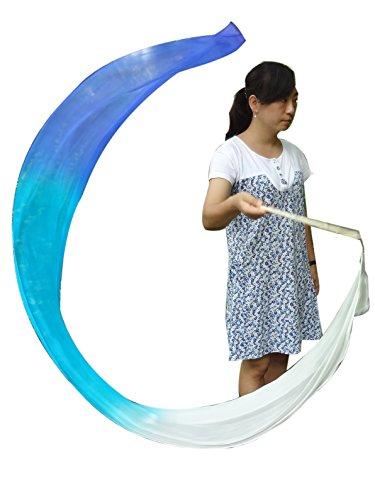 Winged Sirenny 2.5mx0.3m (98x12) 5 Mommes Habotai Worship Silk Streamer (White-Turquoise-Blue)