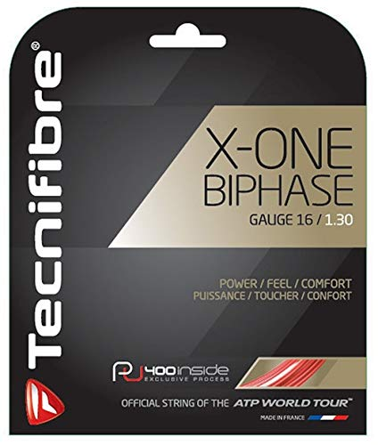 Tecnifibre X-One Biphase - 17 Gauge in Red Color - Multifilament Tennis Racquet String Sets 2-Pack (2 Sets Per Order) - Best for Power and Comfort ()