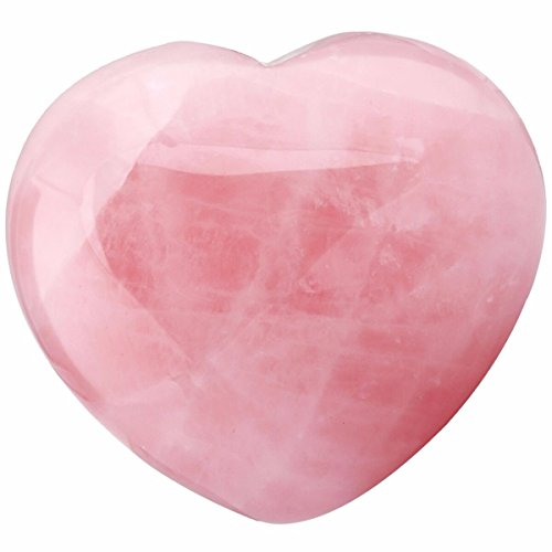 (SUNYIK Natural Rose Quartz Pocket Puff Heart Worry Healing Palm Stone Pack of 1(1.6