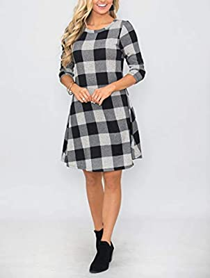 MIROL Women's Long Sleeve Plaid Color Block Diamond Casual Swing Loose Fit Tunic Dress Pockets