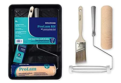 """RollerLite (9KLKIT4)- 9"""" x 1/2"""" Lambswool, Polyester and Acrylic Blend- 4 Pc ProLam Paint Roller Kit"""