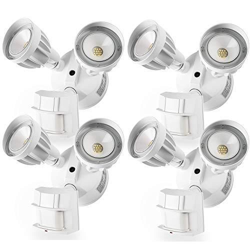 4 Pack LED Security Light Motion Sensor Light Outdoor Dual-Head 5000K Waterproof IP65 ETL Flood Lights [並行輸入品] B07R6NP8HV