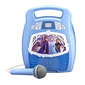 eKids Frozen 2 Bluetooth Portable MP3 Karaoke Machine Player with Light Show Store Hours of Music with Built in Memory…