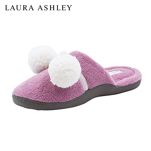 Colors with Terry Mauve and Misty More Cushioned Back Open Sizes Slippers Laura See Ashley Pompoms Ladies qBAnP0
