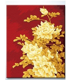 """Sakura DiyOilPaintings Paintworks Paint By Number 20""""x16"""", Golden Noble Peony"""