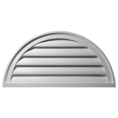 Ekena Millwork GVHR40F 40-Inch W x 20-Inch H x 2 1/4-Inch P Half Round Gable Vent Louver, Functional