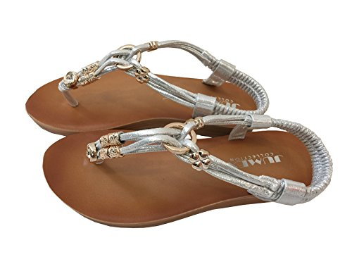 Jumex - Sandalias de Material Sintético para mujer plata