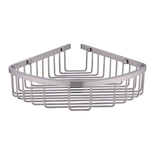304 Stainless Steel Shower Caddy Corner Basket Shelf Bathroom Organizer Wall Mounted Storage, Brushed ()