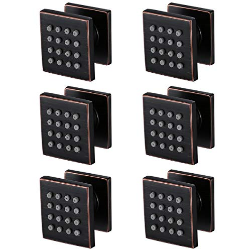 RANDOM Shower Spa Brass Square Massage Body Jets Spray Body Shower Set,Brushed Nickel. (Oil Rubbed Bronze 6 pcs) ()