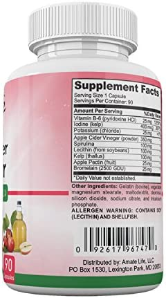 Apple Cider Vinegar Capsules Appetite Suppressant for Women and Men - Improves Digestive Functions - Detox and Cleanse 90 Capsules- Non-GMO by Amate Life 4