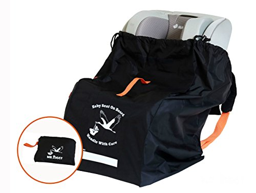 - Mr. Ziggy Car Seat Check Bag Infant Car Seat Travel Bag Made with Care | Gate Check Bag for Your Child's Car Seat for Free Airport Bag Check-in | Waterproof & Extra Durable W/Padded Backstraps