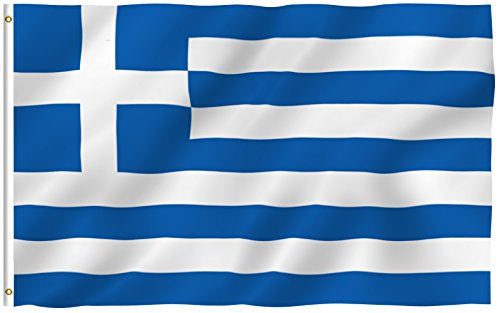 ANLEY [Fly Breeze] 3x5 Foot Greece Flag - Vivid Color and UV Fade Resistant - Canvas Header and Double Stitched - Greek National Flags Polyester with Brass Grommets 3 X 5 Ft
