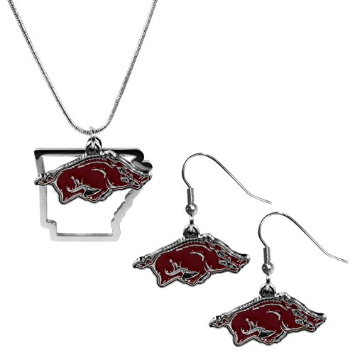 Siskiyou NCAA Arkansas Razorbacks Dangle Earrings & State Necklace Set