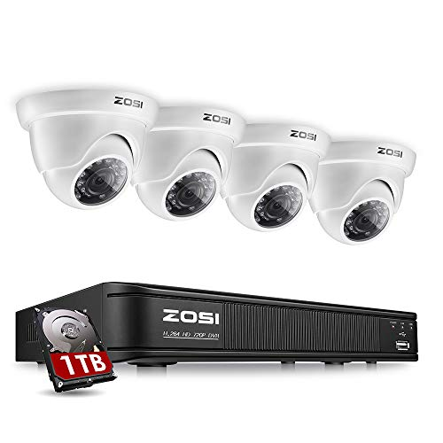 ZOSI 8-Channel 720p HD-TVI Security Camera System,1080P Lite Video DVR Recorder (1TB HDD Built-in) and (4) 1.0MP(1280TVL) Day Night Indoor/Outdoor Weahterproof Dome Surveillance Cameras