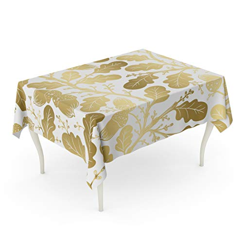 Semtomn 60 x 90 Inch Decorative Rectangle Tablecloth Vintage Oldstyle Gold Color Oak Leaf Pattern Abstract Arms Waterproof Oil-Proof Printed Table -