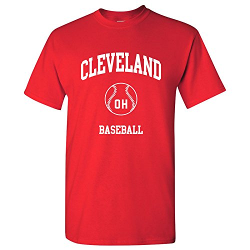 Cleveland Classic Baseball Arch - Stadium, Jersey Team Sports, Batter, Pitcher T-Shirt - 2X-Large - Red Cleveland Indians Pitcher