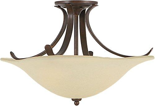 (Murray Feiss SF214GBZ, Morningside Round Glass Semi Flush Lighting, 3 Light, 300 Total Watts,)