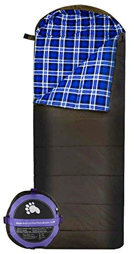 Bigfoot Sleeping Bag - Bigfoot Outdoor Lumberjack Water Resistant Sleeping Bag - Free Stuff Sack (Blue Flannel, 250g/m2 Insulation)