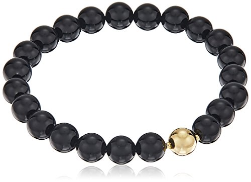 Genuine Black Agate with 18k Yellow Gold Plated Bronze Accent Bead Stretch Bracelet, 6.5