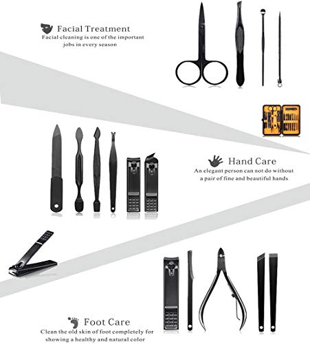Keiby Citom Professional Stainless Steel Nail Clipper Travel & Grooming Kit Nail Tools Manicure & Pedicure Set of 15pcs… 3