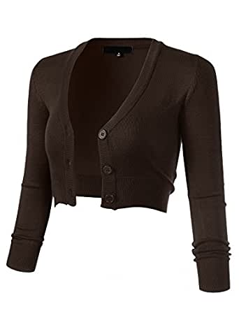 ARC Studio Women's Solid Button Down 3/4 Sleeve Cropped Bolero Cardigans S Coffee Brown CO129