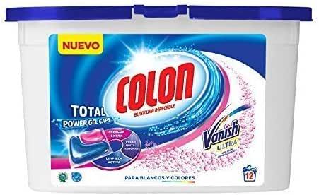 Colon Total Power Gel Caps Vanish - Detergente para Lavadora con agentes quitamanchas, Formato Cápsulas - 12 dosis: Amazon.es: Salud y cuidado personal