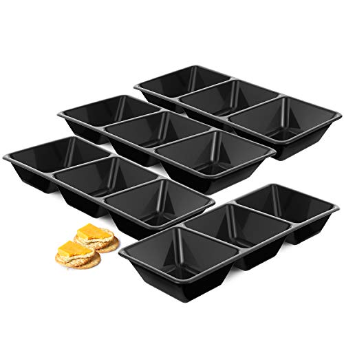 Relish Porcelain (3-Compartment Plastic Appetizer Serving Trays - 4 Pack- Relish Tray, Divided Snack Platter,Candy Tray)