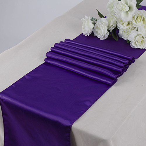 MDS Pack Of 10 Wedding 12 X 108 Inch Satin Table Runner For Wedding Banquet  Decoration  Cadbury Purple