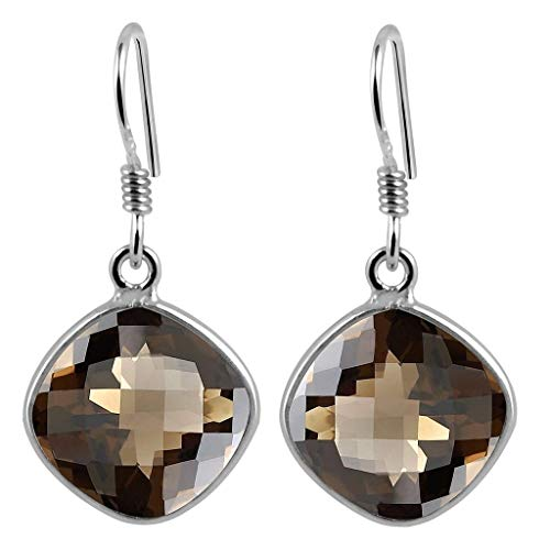 - 12X12MM Cushion Briolette Smoky Quartz 925 Sterling Silver Dangle Earrings