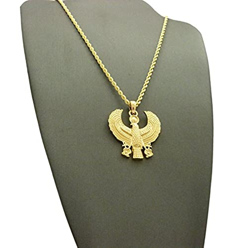 "Egyptian Horus Bird Pendant 18"",20"",24"" Box Chain Necklace in Gold Tone"
