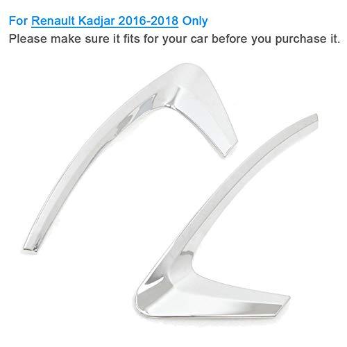 TOOGOO pour Kadjar 2015-2018 Accessoires de Voiture Arri/èRe Feux de Brouillard Couvre D/éCoration Lampe Cadre Garniture Abs Chrome Voiture Style