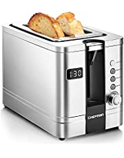 Chefman 2-Slice Digital Toaster, Pop-Up, Stainless Steel, Extra-Wide Slots For Bagels, Defrost, Reheat, Cancel Functions, Removable Crumb Tray